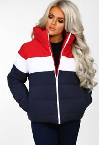 Womens-Ladies-Colour-Block-Contrast-Quilted-Padded-Puffer-Warm-Thick-Jacket-Coat