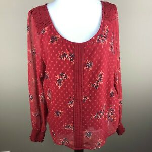 LC Lauren Conrad Women's Long Sleeve Top Blouse Size M Red, Floral, Scoop Neck