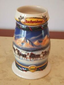 Budweiser-Stein-Collectible-Holiday-In-Mountains-Christmas-2000