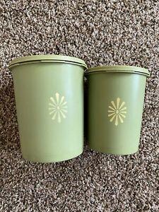 Vintage Tupperware Avocado Green Starburst Nesting Canisters Set of 2
