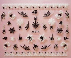 Halloween-Nail-Art-Stickers-Transfers-Black-White-Spiders-Web-Lace-Rhinestone-4a