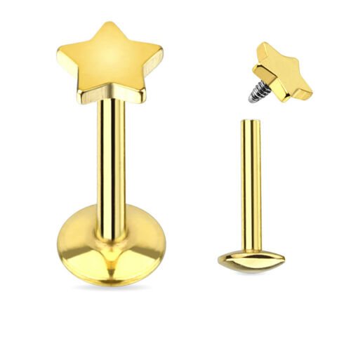"""1//4/"""" GOLD OR ROSE GOLD STAR FLAT TOP TITANIUM PLATED 316L LABRET MONROE TRAGUS"""
