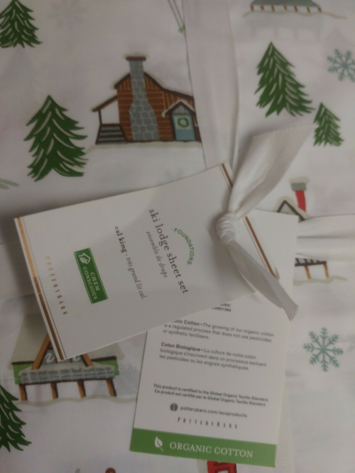 4pc Pottery Barn Ski Lodge Organic Percale Cal King Sheet Set Vintage Christmas