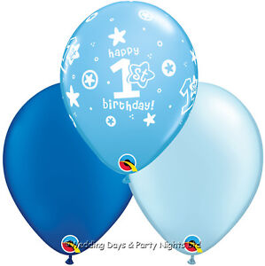 Image Is Loading 15 Boys Happy 1st First Birthday Blue Helium