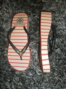 bf86569d0cbb2 Tory Burch Nautical Red White Blue Striped Rubber Wedge Flip Flops ...