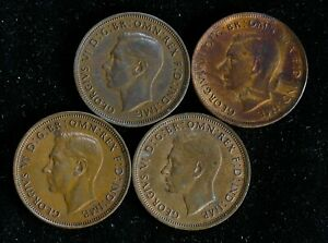 Lot-of-4-Great-Britain-Half-1-2-Penny-1938-1939-1940-x2