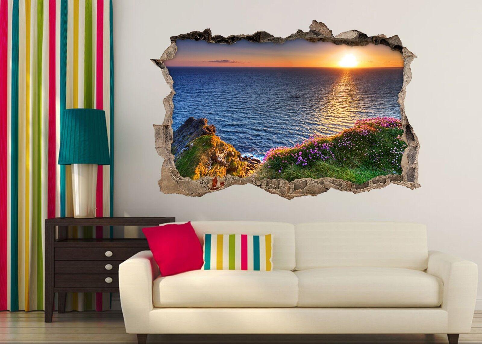 3D Mare Tramonto 123 Parete Murales Adesivi Decal Sfondamento AJ WALLPAPER IT
