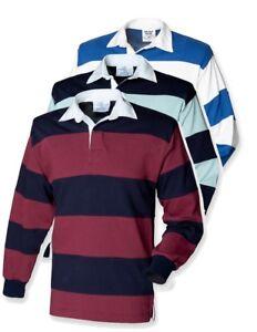 2f83717eaac1 Mens Sewn Stripe Striped BURGUNDY BLUE or WHITE Casual Rugby Shirt ...