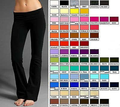 Women Soft Foldover Cotton Spandex Yoga Sweat Lounge Gym Sports Athletic Pants