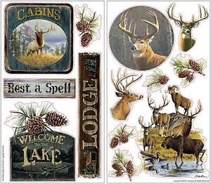 lodge 13 wall decals rustic hunting room decor stickers deer elk lake