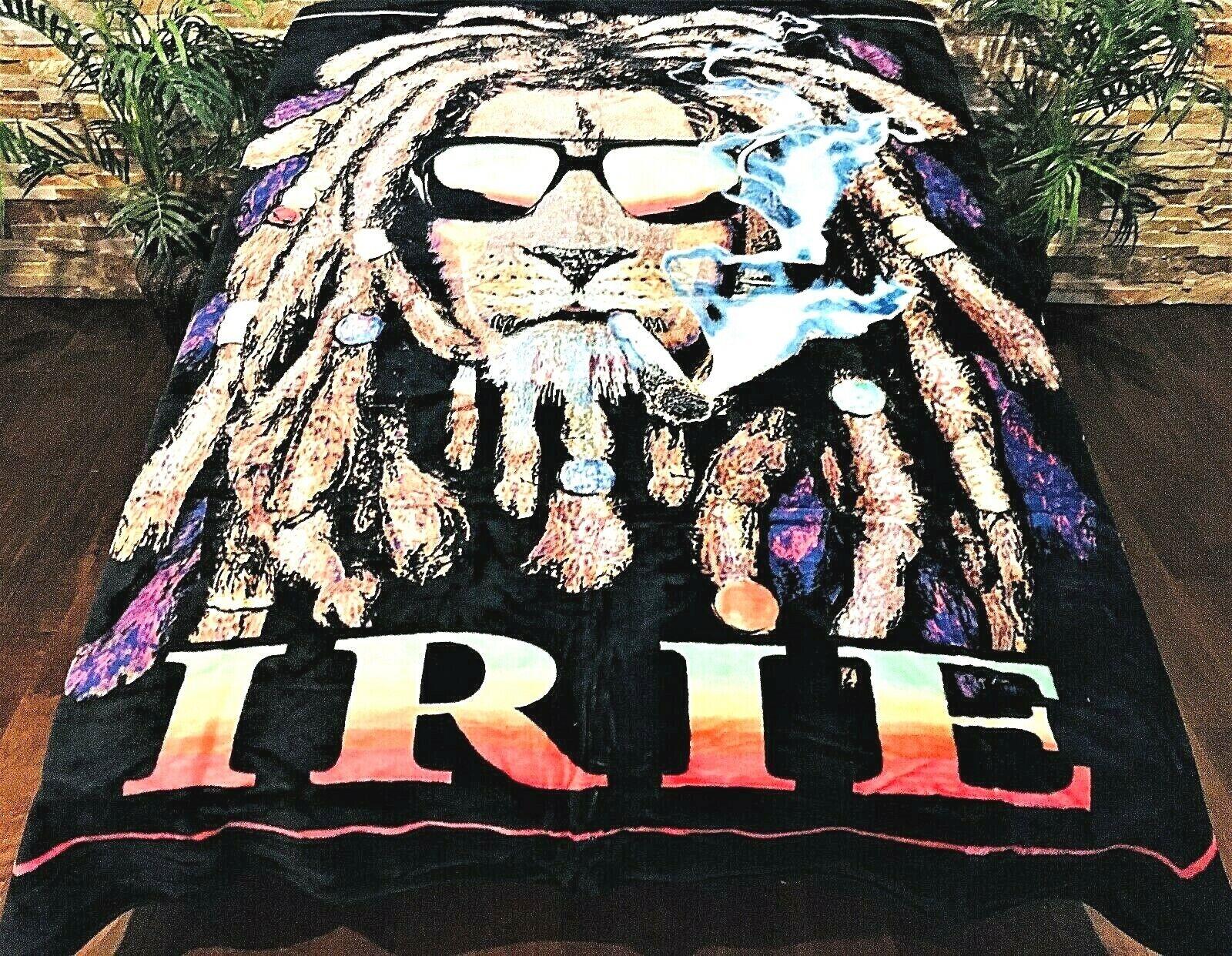 ☀️NEW  79x96 Luxury MEDIUM Weight Queen Blanket IRIE Smoking Dread Rasta Lion
