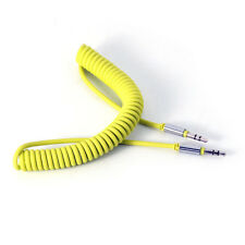 1m Yellow Coiled 3.5mm AUX Cable Mini Jack To Jack Male Audio Auxiliary Lead PC