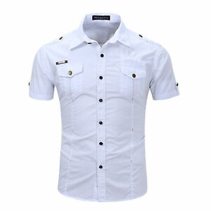 New-Military-Cotton-Men-039-s-Camisas-Social-Army-style-Short-Sleeves-Shirts-GD126