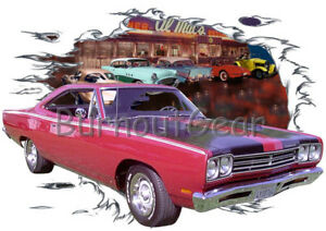 7ecfe7a9 1969 Red Plymouth Road Runner Custom Hot Rod Diner T-Shirt 69 Muscle Car  Tees ...