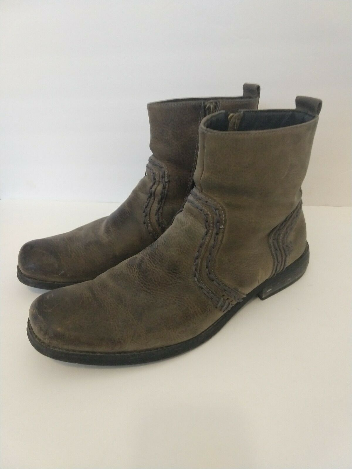 Leather Men's Moto distressed Biker Bed Stu Size 10 Brown knit Ankle boots