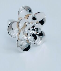 STERLING SILVER ITALIAN MADE BOLD FLOWER STATEMENT RING