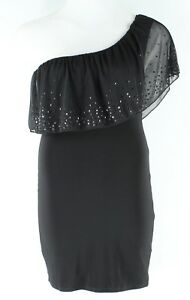Body-Central-Sz-Junior-L-Black-Sequin-Detail-Ruffle-1-Shoulder-Mini-Dress-F64