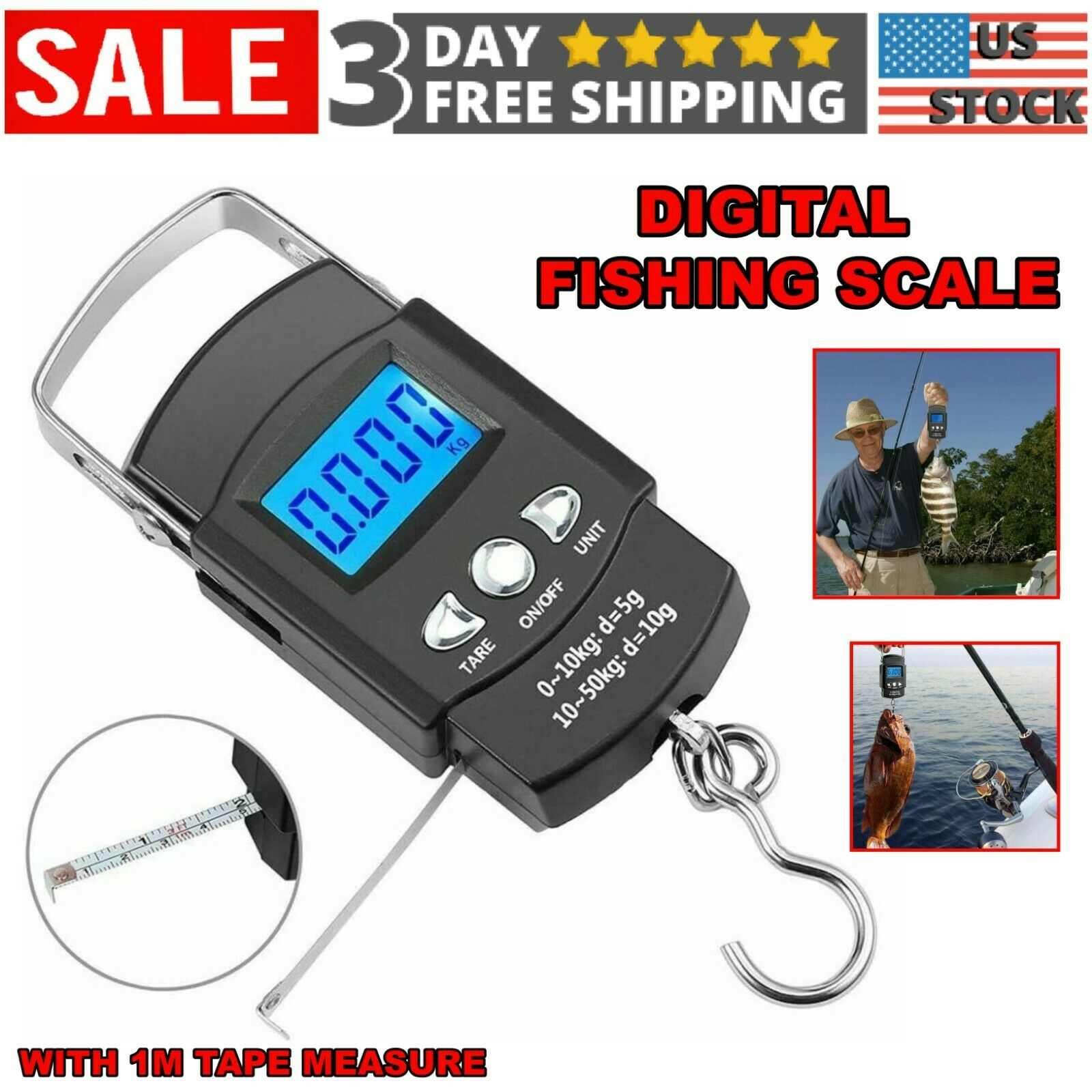 Details about  /Fishing Scale 110lb//50kg Portable Electronic Digital Postal Hook Hanging Scale