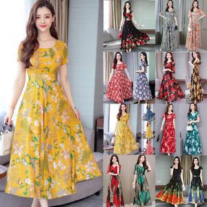 9cc0421780ec Detalles de Mujer Boho Floral Vestido Largo Noche Fiesta Playa Verano Plus  Tamaño de