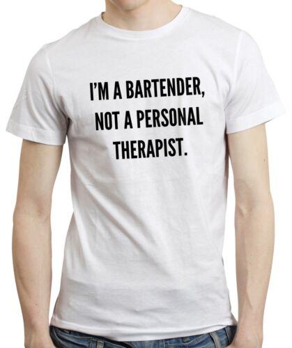 Funny Bartending Gift Drinking Pub Bar T-shirt I/'m a Bartender Not Therapist