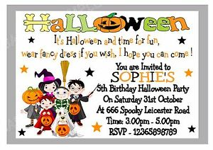 personalised girls boys halloween fancy dress party invitations x