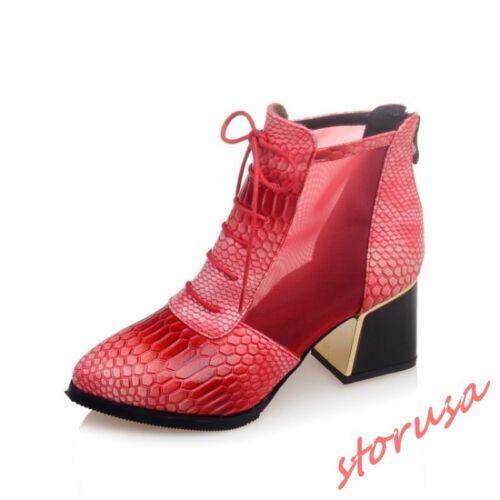 Chaussures femme cuir verni bout pointu et Lacets Décontracté Talon Bloc Décontracté Bottines