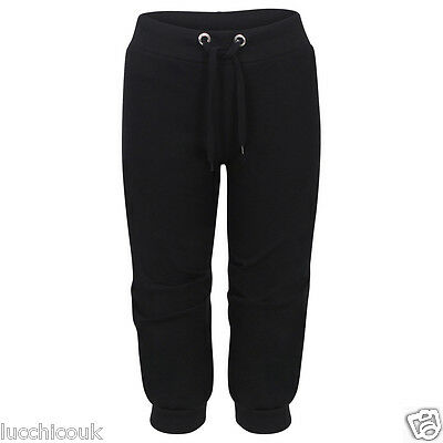 Ladies 3/4 Length Cropped Jogging Bottoms Pants Womens Trackies Gym Wear