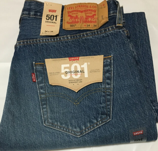 ab0ae7dc NWT MENS LEVI'S 501 -2487 ORIGINAL BUTTON FLY STRAIGHT BLUE JEANS PANT $70