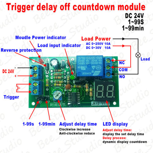 DC 12V 24V LED Trigger Countdown Delay Timing Timer Relay Switch Turn Off Module