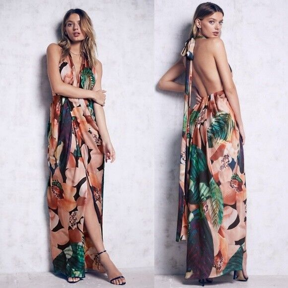 Bariano Womens Miami Maxi Dress Free People 8 Floral Halter Slit Formal