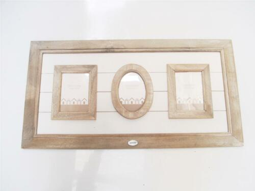 """Two Tone Wooden Brown Wall Hanging Collage Photo Frame 3.5/""""x5/"""" /& 4/""""x4/"""""""