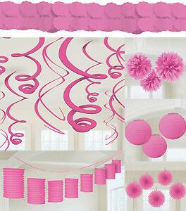 Pink Rosa Party Deko Laterne Facher Girlande Papier Blume Hochzeit