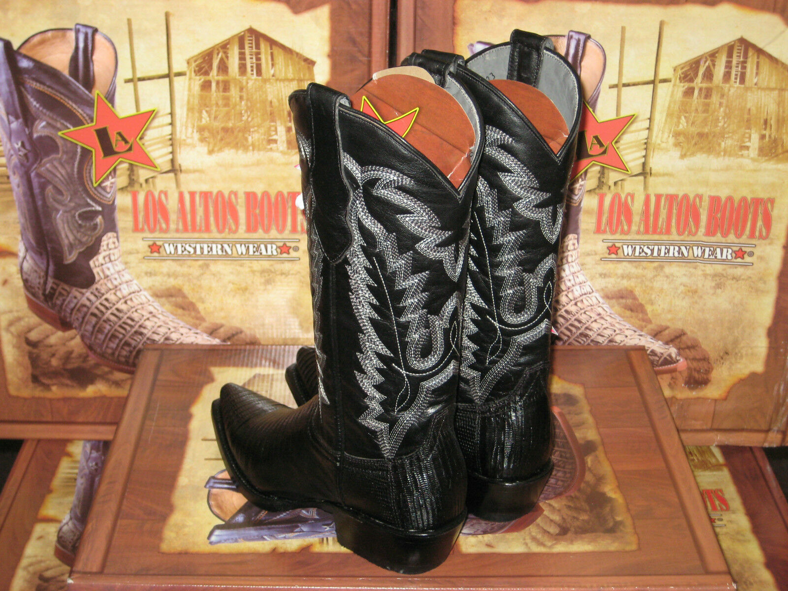 LOS ALTOS WOMEN WOMEN WOMEN BLACK GENUINE TEJU LIZARD SNIP TOE WESTERN COWBOY BOOT 340705 e117de