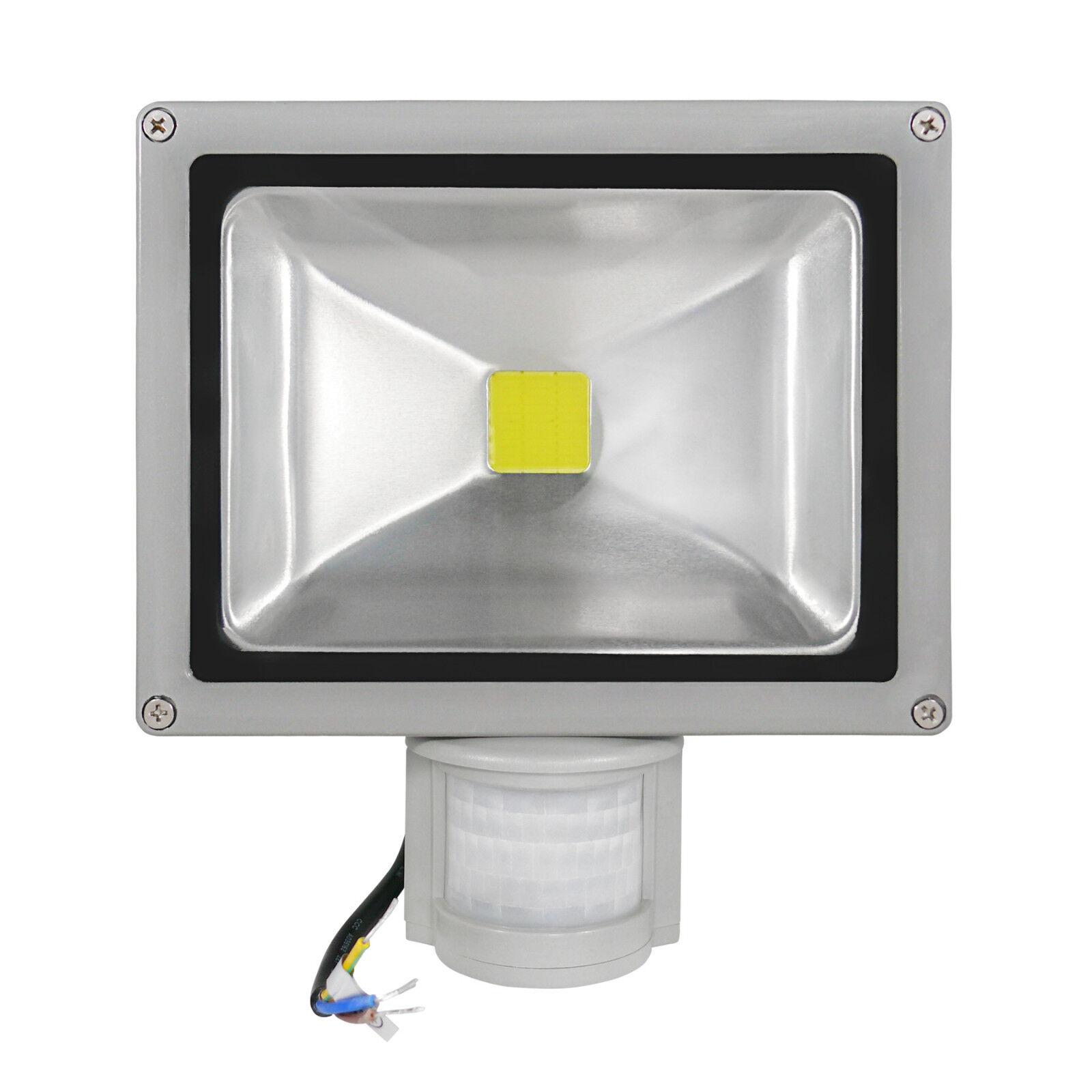 2x LED eh con detector de movimiento LED reflector colocado LED emisor 30 vatios blancoo fria