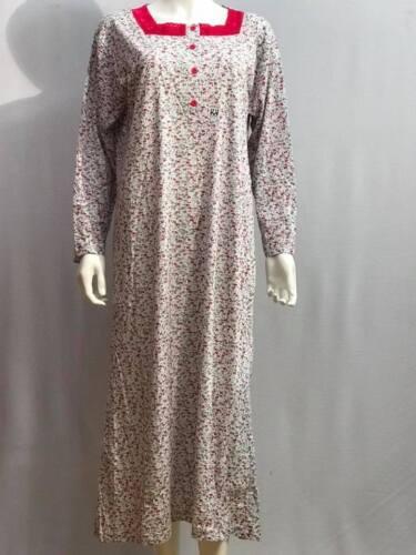 Manga Larga Camisón Noche wear para damas Mujeres Floral Camisón Calentador de 100/% algodón