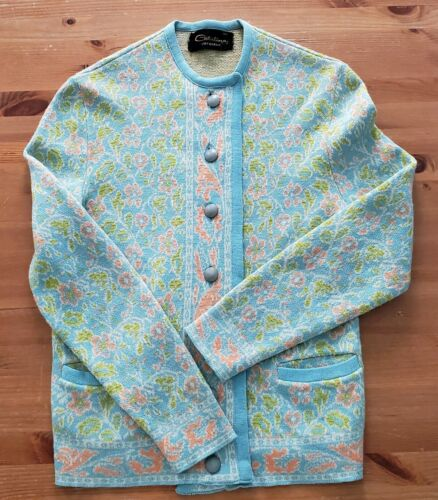 Vintage 60s Catalina Jacquard Cardigan 36 Blue Gre