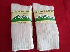 2 Pair Large Maine 95% Merino Wool Ragg Crew Sock 9-12 Made in USA White