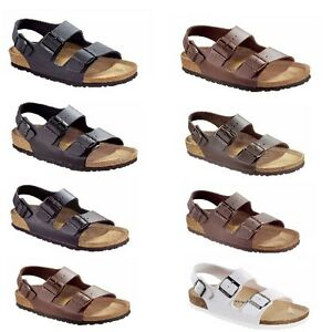 7b2341d047d4 Image is loading Birkenstock-Milano-Sandals-Ankle-Strap-Slingback -Slipper-Leather-