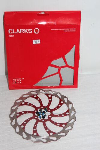 Clarks 160mm Wavey Disc Brake Rotor 160mm 6 bolt  Red w//bolts