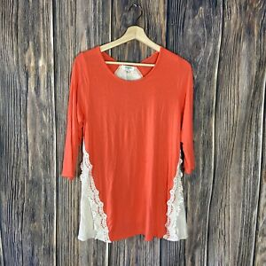 Umgee-Top-Small-Women-s-Coral-Cream-Lace-Crochet-Boho-Casual-3-4-Sleeve