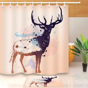 Image Is Loading Hand Painted Deer Bathroom Waterproof Fabric Shower Curtain