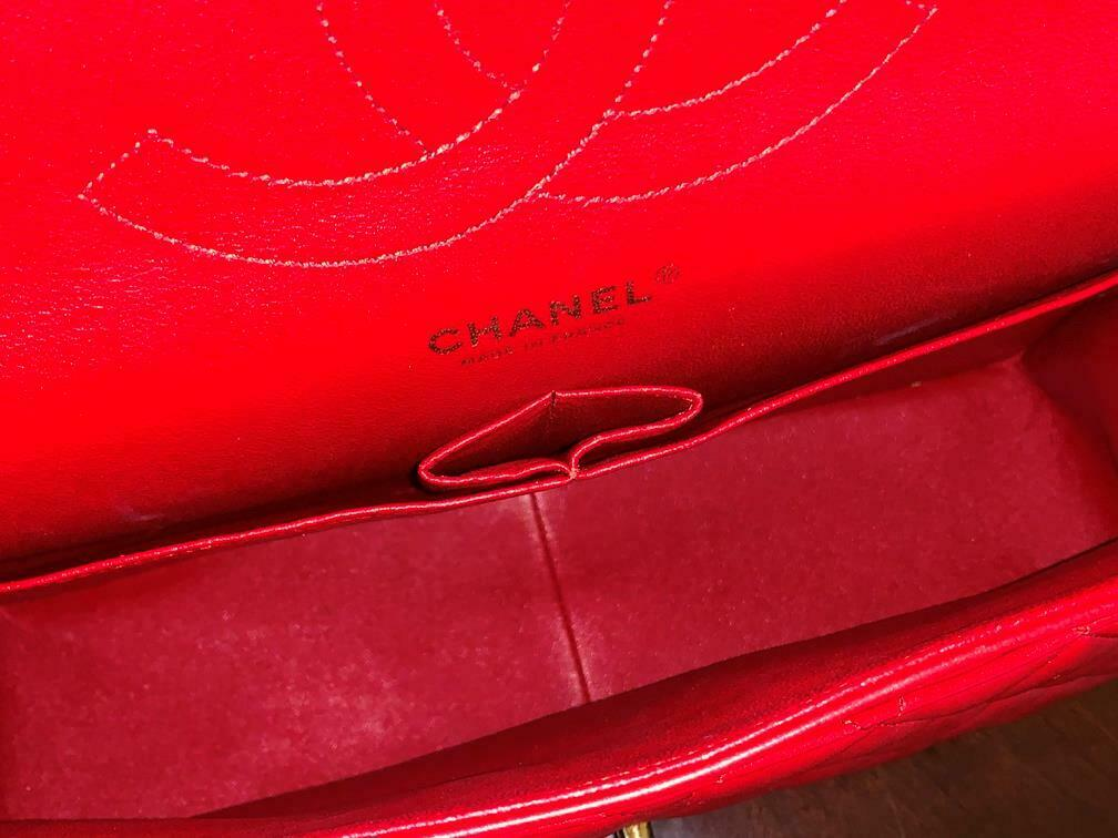 Authentic Chanel Classic Jumbo Red Lambskin Doubl… - image 10