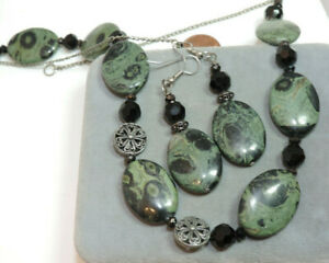 Green Black Spotted Agate Jasper Stone Necklace Dangle Earrings Ck 105