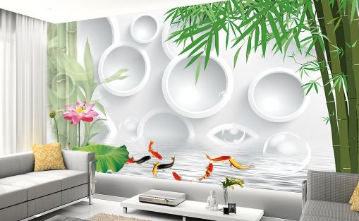 3D 3D 3D Bamboo Farbe Carp Lotus Paper Wall Print Wall Decal Wall Deco Indoor Murals 857754