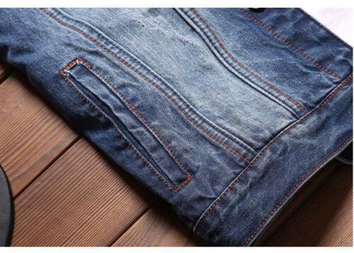 Mens Casual Denim Vest Jean Jacket Waistcoat Sleeveless Vintage New Jacket blue