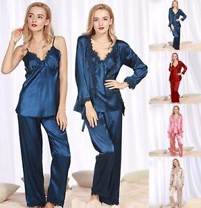 Ladies 3 Piece Set Silk Satin Pajamas Sexy V Neck Pyjama Sleepwear ... dabb9764d