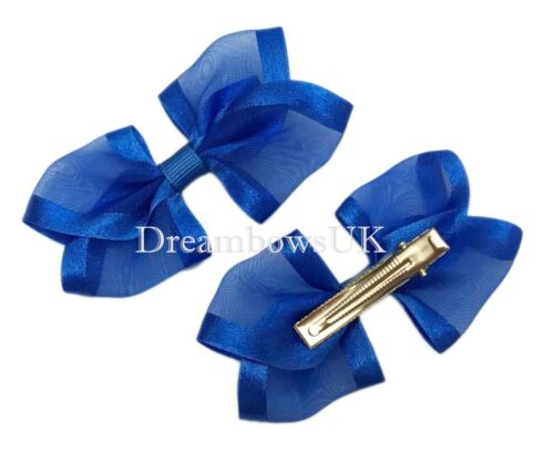 Girls school bows Royal blue satin edge organza hair accessories//bows