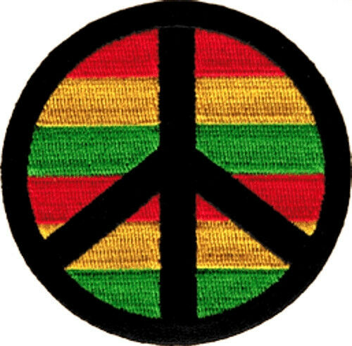 9951 Peace Sign Symbol Reggae Rasta Rastafari Political 60s Hippie Iron On Patch