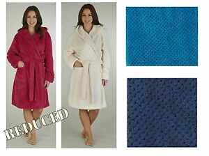 Image is loading Dressing-Gown-Luxury-Super-Soft-Fleece-Ladies-Hooded- fe1e80873