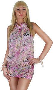 Damen Blümchen Longshirt Bluse Shirt Kleid Mini Dress Minikleid ★ 15c
